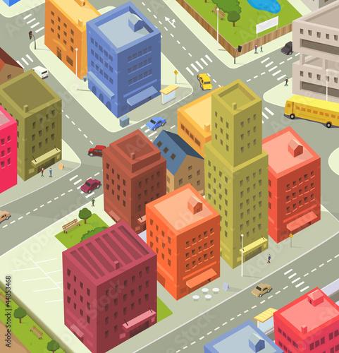 Foto op Plexiglas Op straat Cartoon City Aerial View