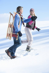 Happy couple with sled walking and holding hands in snow