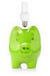 Green piggy-bank with lightbulb