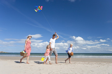 Family with picnic basket flying kite and walking on sunny beach