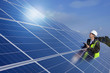 Engineer inspecting solar panels