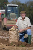 Portrait of smiling farmer with sack of potatoes in sunny, rural field with tractor in background