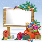 Fototapety Christmas wooden sign board
