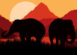 Elephant family in wild Africa mountain nature vector