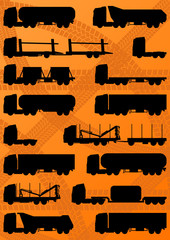 Detailed highway truck, trailer and oil cisterns  vector