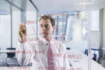 Businessman drawing flow chart on glass window in office