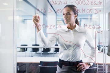 Businesswoman drawing graph on glass window in office