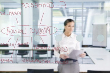 Businesswoman with paperwork looking at flow chart on glass window