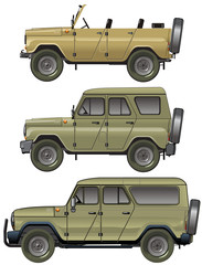 Vector jeeps set