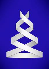 White stylized Christmas tree on blue background.