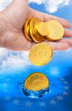 Spending money. European crisis metaphor. poster