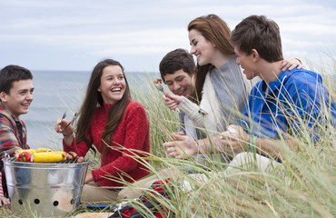 Teenage friends enjoying barbecue in grass on beach