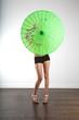 hidden sexy woman with asian umbrella
