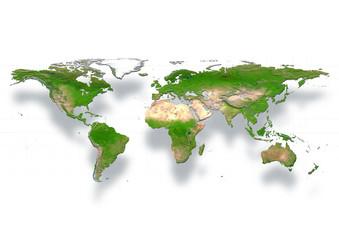 map, world, europe centered, physical, white
