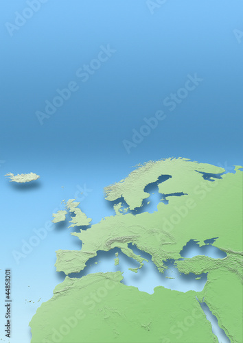 map, Western Europe, green, blue, relief map