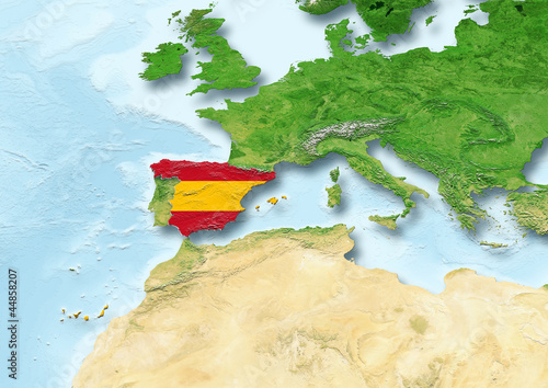 Spain, flag, map, Western Europe, physical