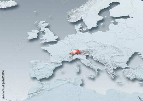 Switzerland, flag, map, Western Europe, grey, physical, grey, political