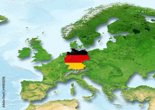 Germany, flag, map, Western Europe, physical