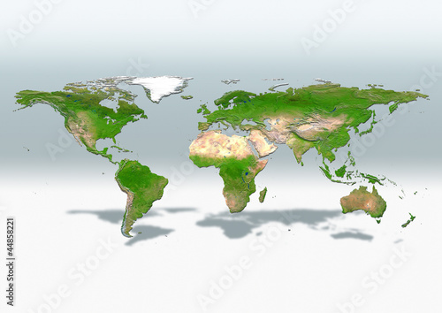 map, world, europe centered, physical, grey white