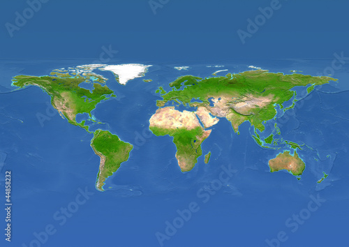 map, world, europe centered, physical, blue reduced