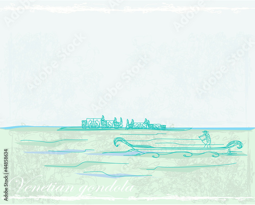 Venetian gondola retro style card vector illustration