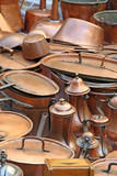 pots pans and ancient copper coffee pots
