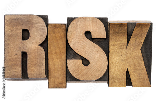 risk word in letterpress wood type