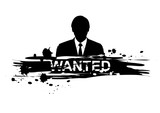 wanted design with silhouette man