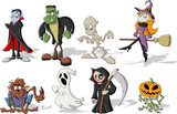 Fototapety Funny cartoon classic halloween monster characters