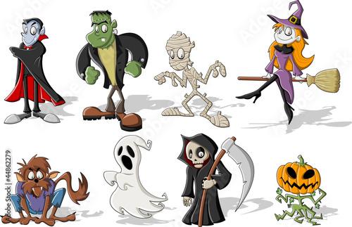 Funny cartoon classic halloween monster characters