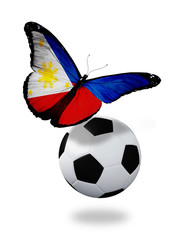 Concept - butterfly with Philippine flag flying near the ball, l