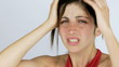 Woman suffering terrible headache