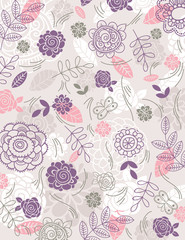 background of hand draw  flowers, vector © sunnyfrog