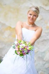 Wedding Flower in brides heands
