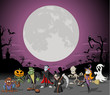 Halloween cemetery with full moon and monster characters - 44865424