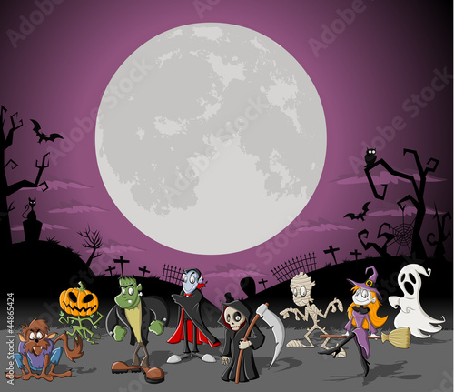 Halloween cemetery with full moon and monster characters