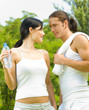Cheerful couple on outdoor fitness workout