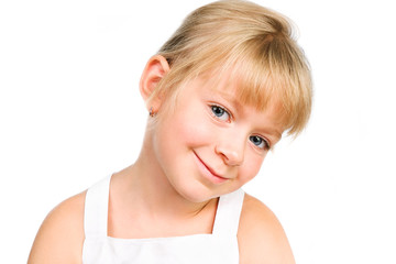 cute little girl smiling isolated over white
