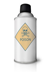 "Spray bottle with ""poison"" sign and reflection on white"