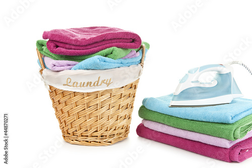 Laundry Basket and towels with iron on them