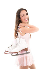 Smiling Figure Skater or Ice Dancer with Skates