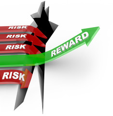 Risk Vs Reward Words Arrow Rises Over Hole