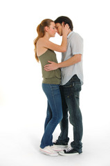 young couple face to face, studio shot