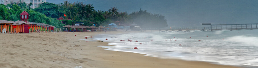 Panorama Image of Hainan beach early in the morning.