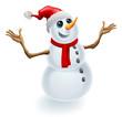 Christmas Snowman Wearing Santa Hat