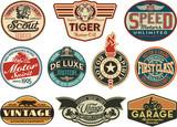 Fototapety Motor company vintage abels