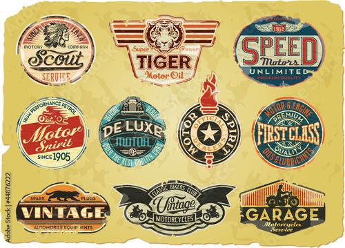 Motor company vintage grunge labels
