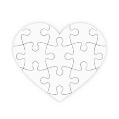 puzzle rompecabezas de un corazón aislado con trazado de recorte