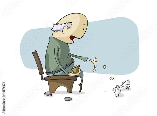 An old man feeding pigeons