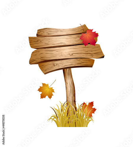 Wooden sign with autumn grass and leaves